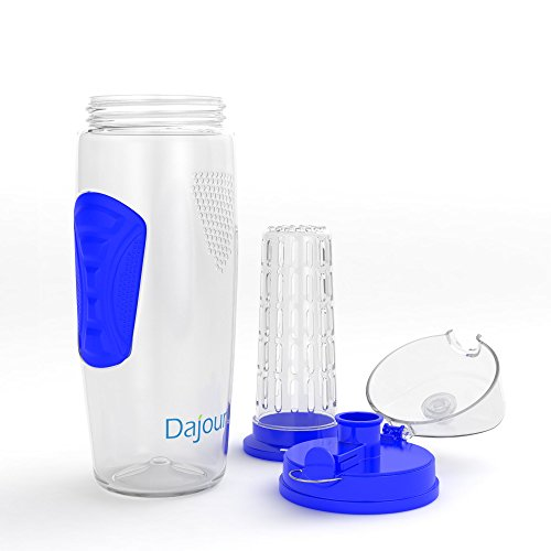Fruit Infuser Water Bottle 32 Ounce NO BPA Sports Flavor Infusion Bottle - PLUS Recipe Ebook and Cleaning Brush INCLUDED (2 PACK - PINK&BLUE)