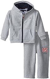 Tommy Hilfiger Baby Boys\' Draper Fleece Sweatsuit Set, Grey Heather, 24 Months
