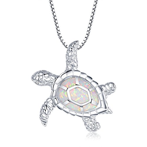 Victoria Jewelry [Health and Longevity] RhodiumPlated Silver Created White Opal Sea Turtle Pendant Necklace 18