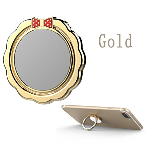 Price comparison product image Mchoice Mobile Phone Holder Shape Metal Finger Mirror Ring Stand Holder Phone Bracket (Gold)