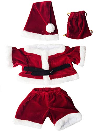 """Santa Costume Outfit Teddy Bear Clothes Fit 14"""" - 18"""" Build-a-bear, Vermont Teddy Bears, and Make Your Own Stuffed Animals from Stuffems Toy Shop"""