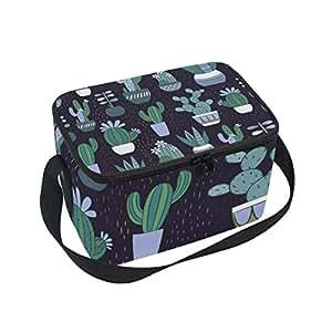 Alinlo - Bolsa de almuerzo con patrón de cactus, con cremallera aislada, bolsa térmica para el almuerzo, bolso de mano para picnic, escuela, mujeres y niños