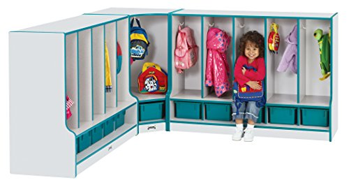 Rainbow Accents 6683JCWW005 Toddler Corner Coat Locker with Step and Trays, Teal