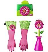 Vigar Flower Power 3-Piece Dishwashing Set, Includes Dish Brush with Holder, Sponge with Holder a...