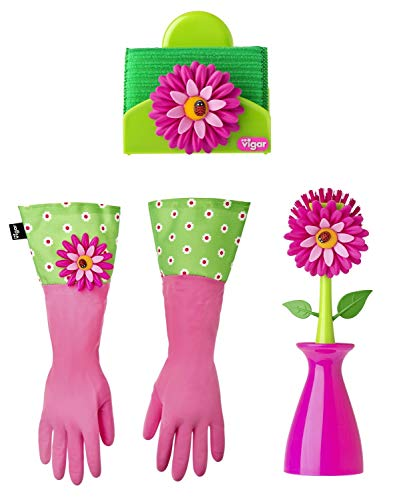 Vigar Flower Power 3-Piece Dishwashing Set, Includes Dish Brush with Holder, Sponge with Holder and Latex Dish Gloves with Extra Long Cuff, Fun Floral Accents, Pink and ()