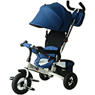 Qaba 2-in-1 Lightweight Steel Adjustable Convertible Tricycle Stroller - Blue