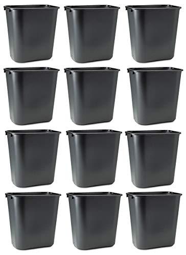 Rubbermaid Commercial DKFESUHU Soft Molded Plastic Wastebasket, 7 Gal, 12 Pack