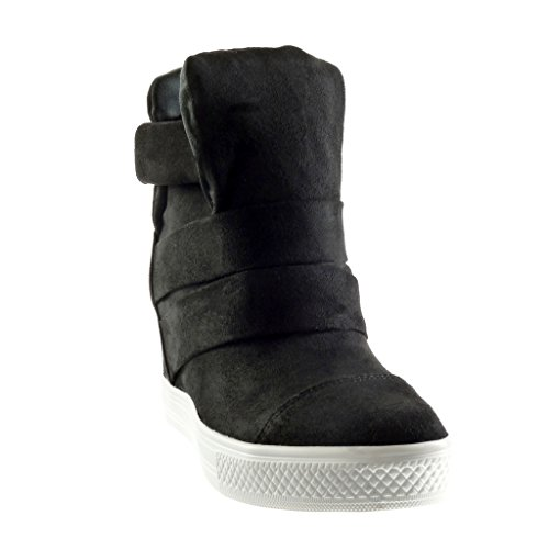 Angkorly - Scarpe da Moda Sneaker Zeppa alti zeppe stile vintage donna tanga Tacco zeppa piattaforma 8 CM - Nero