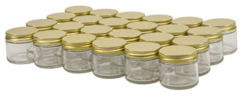 North Supply - North Mountain Supply 2 Ounce Glass Straight Sided Spice/Canning Jars - With 53mm Gold Lids - Case of 24
