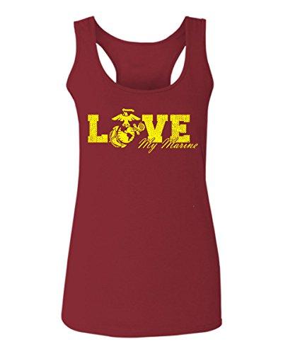 - Love My Marine USMC United States of America USA American Mother Gift Women's Tank Top Sleeveless t Shirt Racerback (Maroon, Small)