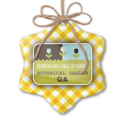 NEONBLOND Christmas Ornament US Gardens Georgia Golf Hall of Fame's Botanical Garden - GA Yellow Plaid