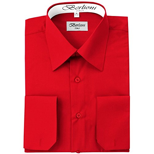 (Men's Dress Shirt - Convertible French Cuffs ,Red,Large (16-16.5