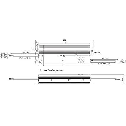 LED Fuente de alimentaci/ón 320W 24V 13,34A ; MeanWell HLG-320H-24A