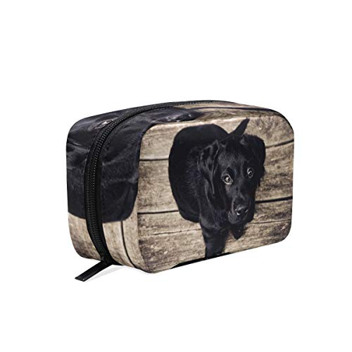 Cosmetic Makeup Bag Pouch Black And White Puppy Dog Animal Cute Canine -