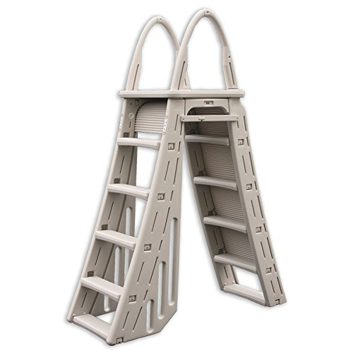 Ground Ladder Above (Confer Heavy-Duty A-Frame Above-Ground Pool Ladder + Hydro Tools Protective Mat)