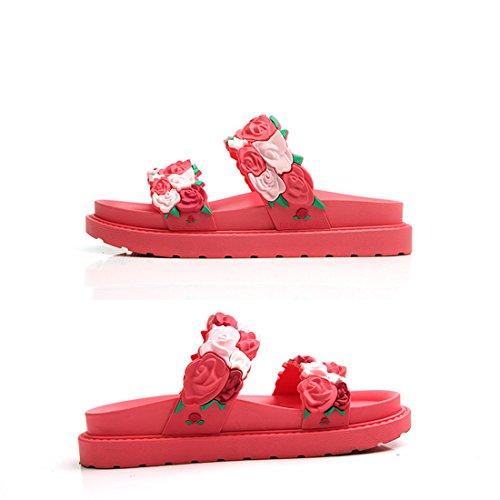 Pantofole Casual Da Donna In Pelle Da Spiaggia Estiva In Pelle Xy-9999 Nere