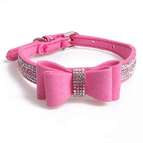 Fourhorse Sunward Bling Rhinestones Bowtie Dog Collar-Soft Leather Made-Bow Tie Crystal Boy Girl Dog or Cat Collar Designer Fancy