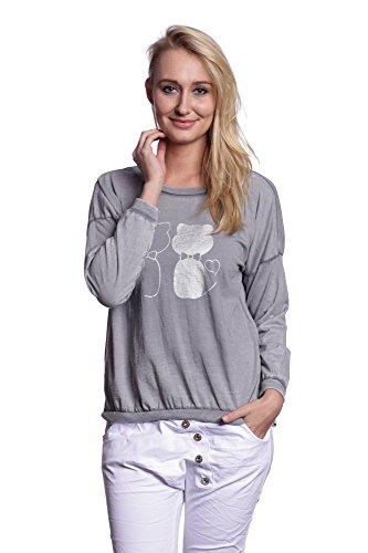 Abbino 7112-12 Camisas Blusas Tops para Mujer - Hecho en ITALIA - 6 Colores - Entretiempo Primavera Verano Otoño Mujeres Femeninas Elegantes Formales Manga Larga Casual Vintage Fiesta Rebajas Gris