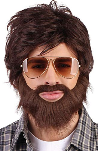 (Mens Brown Hangover Wig Beard Moustache Kit Film Stag Do Party Fancy Dress Costume Outfit)