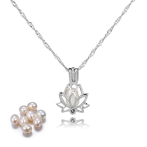 (RSTBABY Pearl Necklace Lotus Pendant Locket Pearl Necklaces Pearls in Oyster Kit Set Women Wish Gift)