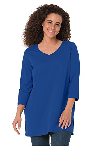 Women's Plus Size Top, The Perfect Petite Tunic With 3/4 Sleeves Dark