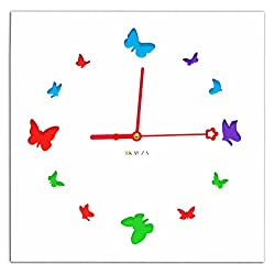 Contemporary Wall Clock with 3D Laser Cut Out Colourful Butterflies Wooden Frame by Kauza (White)