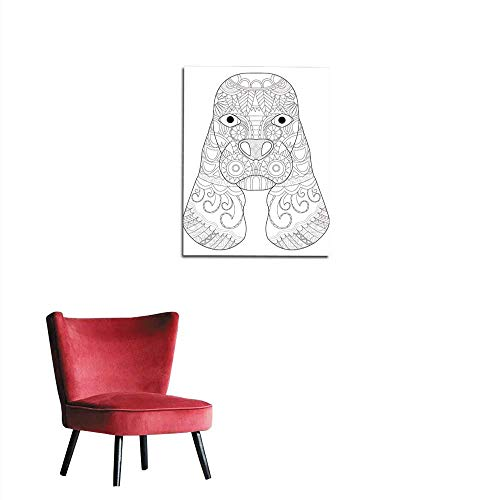 longbuyer Wall Sticker Decals Dog Cocker Spaniel Head Coloring Vector for Adults Mural 20