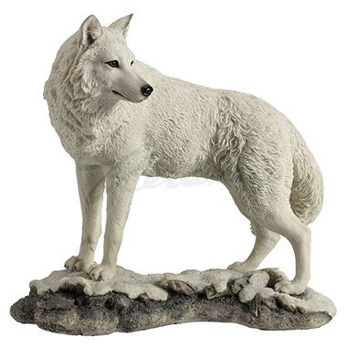 Wolf Collectible Figurine (9.5 Inch Wolf on Snowy Ground Looking Back Statue Figurine, White)