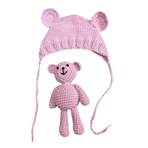 0-6 Month Bear Costume (Sharemen Knit Costume, Baby Girl Boy Photography Crochet Bear Hat Set (Pink))