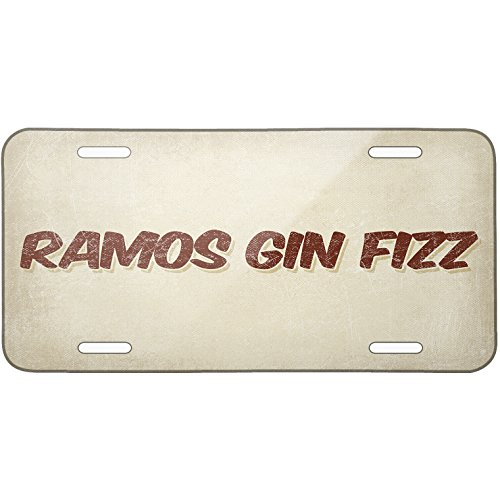 Metal License Plate Ramos Gin Fizz Cocktail, Vintage style - Neonblond