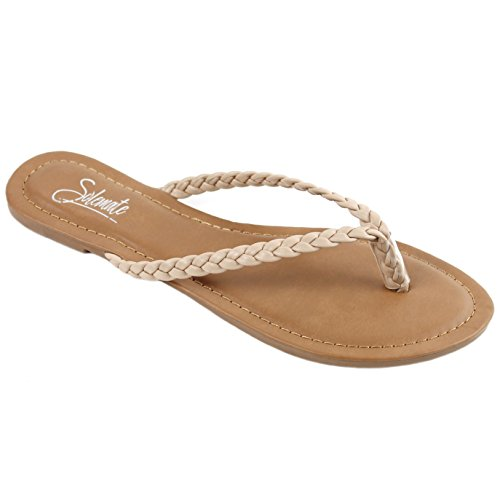 Solemate Women's Woven Braided Strappy Thong Flip Flop Sandal Flat Beach Sandals (9 M US, Nude)