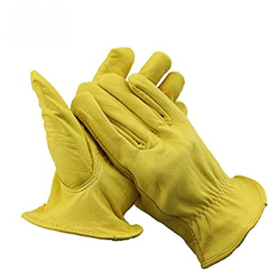 Work Gloves Suede Leather Gloves for Men & Women, Wood Cutting, Motorcycle, Driving, Cycling ,Welding, Heavy Duty
