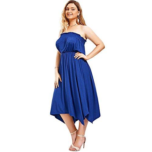 CharMma Frauen Plus Size trägerlosen gesägte asymmetrische Hem Tube Abendkleid