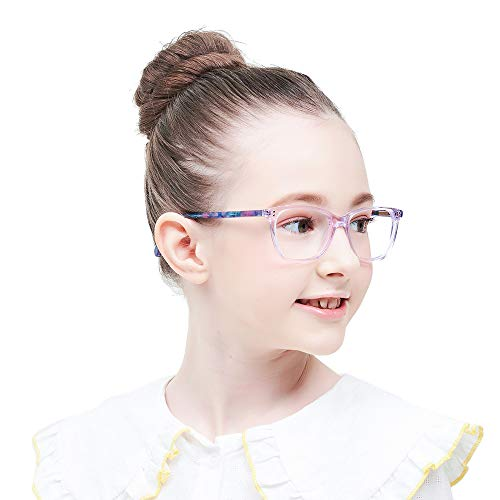 - Teens Children Kids Glasses with Square Clear Lens for Boys Girls Gray Pink Purple Green(Age 5-12) (Wk17070C3 Purple)