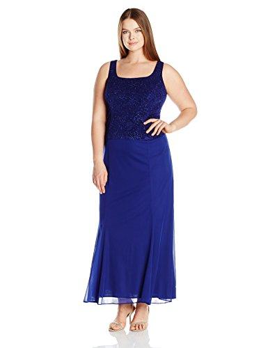 Alex Evenings Women's Plus Size Long Dress with Button Front Jacket, Electric Blue, 24W (Long Plus Size Jacket Dress)