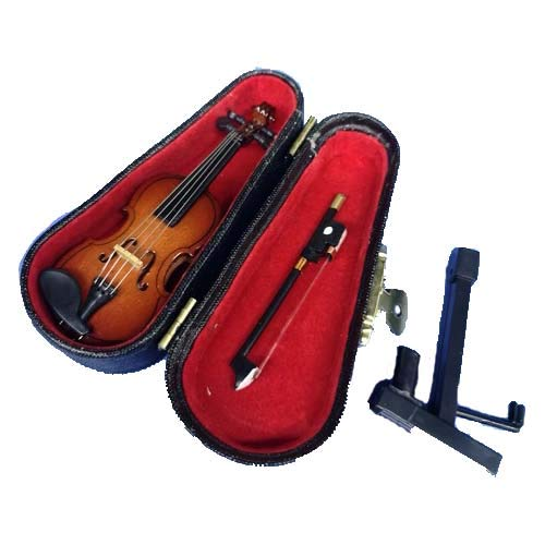 LS Realistic Mini Wood Violin Musical Instrument, Miniature Dollhouse Replica Ornament Holiday Accessories Gifts with…