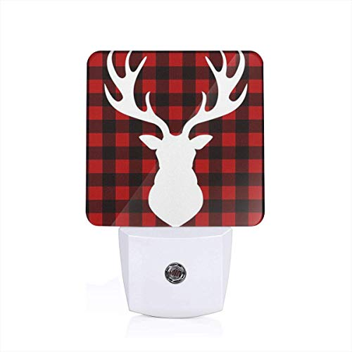 Black Red Buffalo Plaid Moose Night Light with Auto Dusk to Dawn Sensor for Bedroom, Bathroom, Stairs