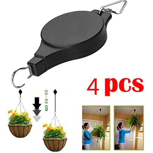 ️ Yu2d ❤️❤️ ️4 pcs Retractable Pulley Hanging Basket Pull Down Hanger Garden Plant Pots Hook]()