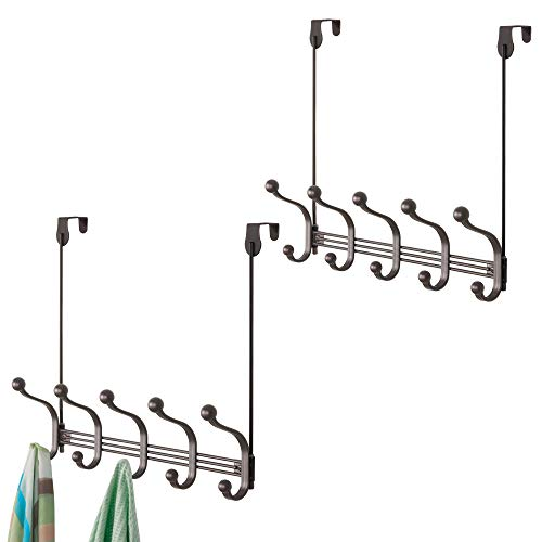 Door Hook Multi (mDesign Vintage Decorative Metal Double Over-The-Door Multi 10 Hooks Storage Organizer Rack for Hats and Coats, Hoodies,Scarves, Purses, Leashes, Bath Towels & Robes - Pack of 2, Bronze)