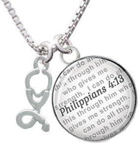 13.1 Half Marathon Bible Verse Philippians 4:13 Glass Dome Bangle Bracelet