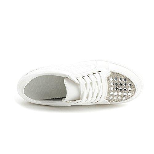 Btrada Womens Platform Casual Sneaker Wedge Fashion Sport Scarpe Da Passeggio Inverno Bianco Più Velluto