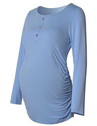 Maternity Shirt Ruched Sides Long Sleeve Round Neck Button Front For Women Mama Casual Pregnancy Top Light Blue XXL -