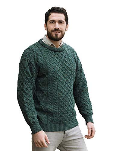 Aran Crafts Traditional Aran Crew Neck Sweater MED Moss (C1347-MED-MOSS) (Wool Flower Neck Sweater)