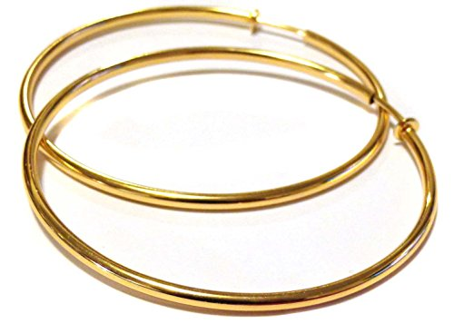 Clip-on Earrings Clip Hoop Earrings Gold or Silver Plated 80mm Hoop Simple Thin (Gold)