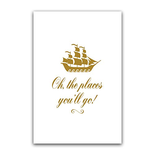 Oh the Places You'll Og, Golden Ship Nursery Wall Art, Kid P