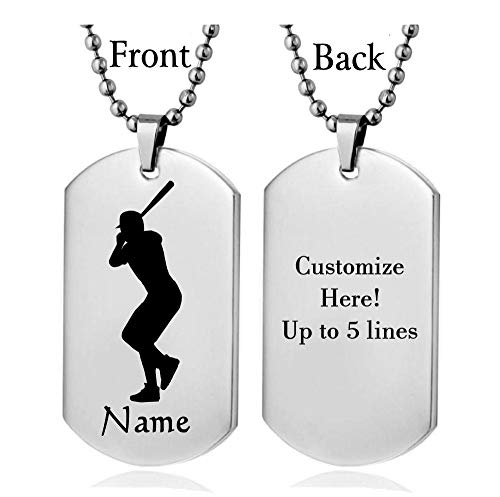 Personalized Sport Silhouette Customize Engrave Message Name Dog tag Necklace Pendant 24 inch Stainless Steel Chain Giftpouch and Keyring (Silver Baseball)