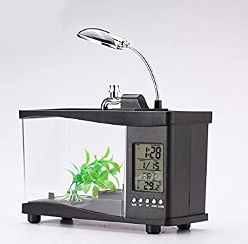 GRANDEY Mini USB Escritorio Acuario Peces Tanque con Despertador Reloj LCD Pantalla y LED Lámpara de Mesa: Amazon.es: Productos para mascotas