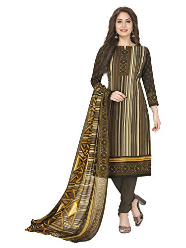 Jevi Prints Women's Unstitched Faux Crepe Wrinkle Free Dress Material (Varsha-3256_Brown_Free Size)