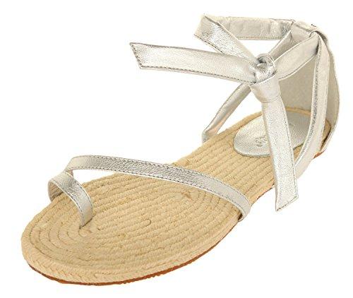 Flip Flop Damen Flache Sandalen Silber 20151-918