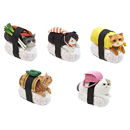 nekozushi-sushi-cat-keychain-figure-5-piece-complete-set-clever-idiots-inc-version